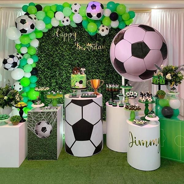 Artificial green panel football theme party decoration