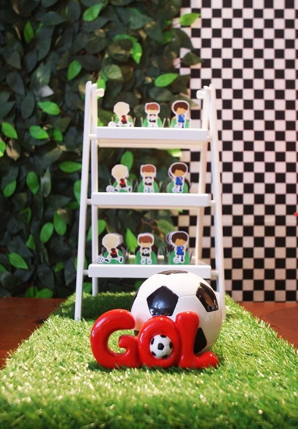 Details of football theme children's party decoration