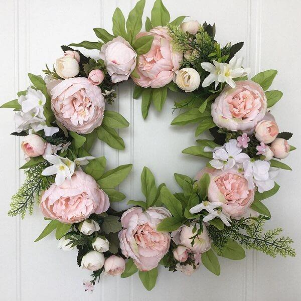 Enfeite sua porta com uma linda guirlanda de Peônia rosa