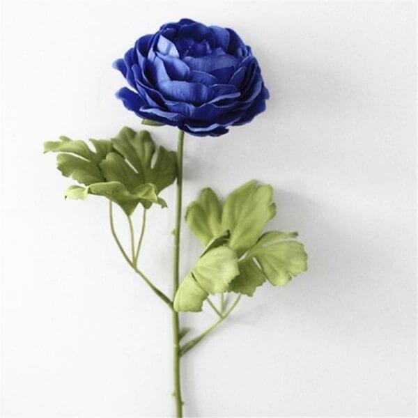 Flor de Peônia azul artificial para decoração