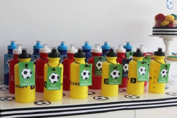 Personalized water bottles with football theme Children's party