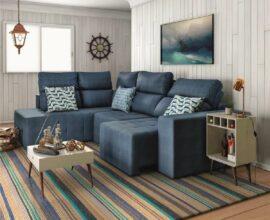 Modelo de sofá de canto retrátil para sala de estar