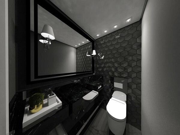 O revestimento 3D para banheiro preto deixa qualquer ambiente muito mais elegante