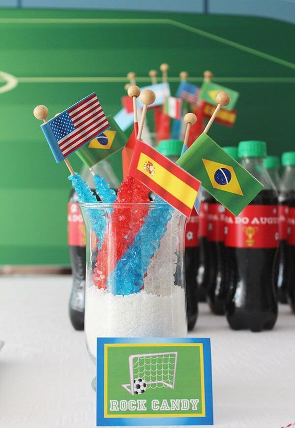 Football-themed lollipops sweeten party guests