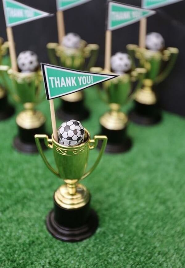 Trophies for party theme football souvenirs