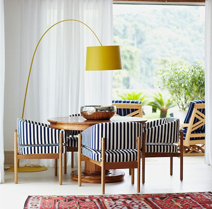 Living room with modern yellow floor lamp