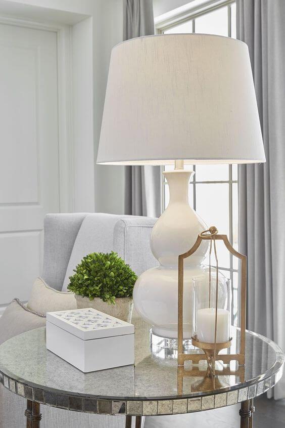 Table lamp in clean living room