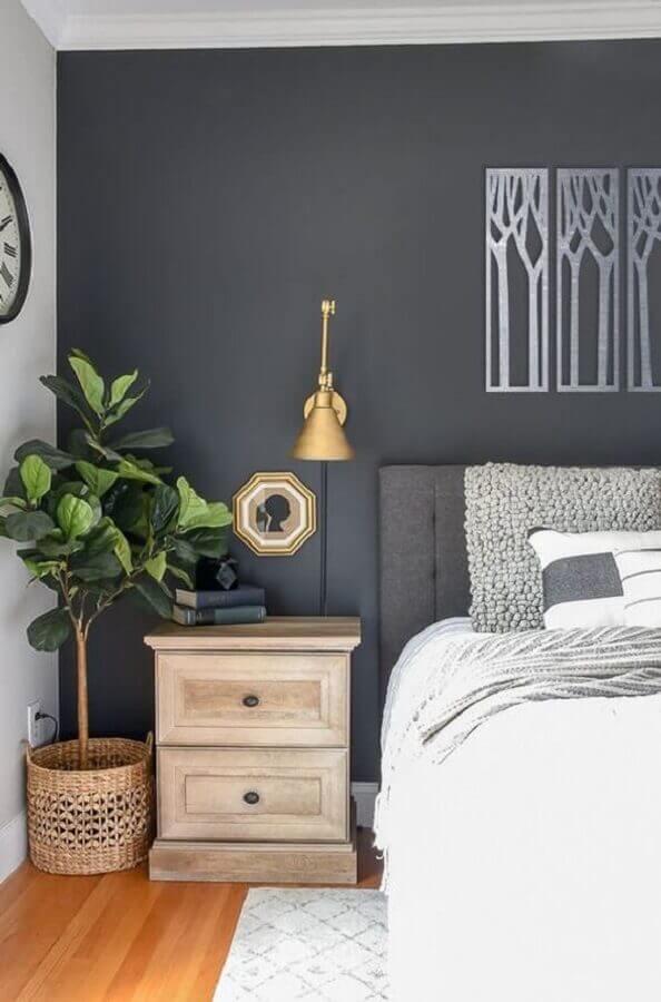 abajur de parede para quarto cinza decorado com criado mudo de madeira Foto Etsy