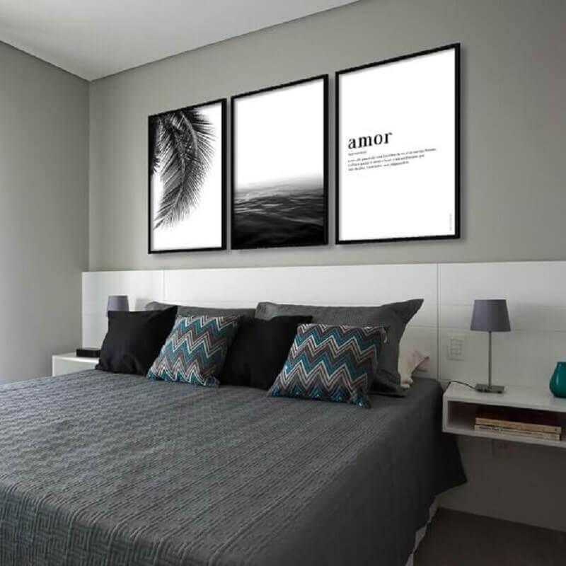 almofadas decorativas para quarto cinza moderno Foto AMMO Quadros
