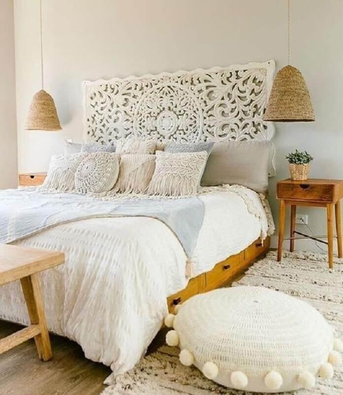 almofadas para quarto feminino branco com estilo boho Foto Archilovers