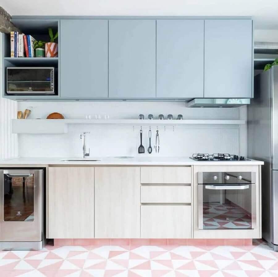 armário aéreo azul pastel para cozinha planejada pequena Foto Estúdio Minke