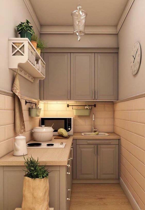 Armário de cozinha pequeno de canto
