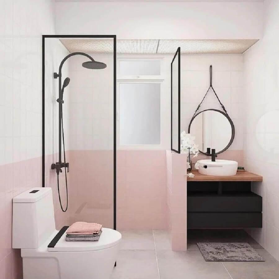 banheiro moderno decorado na cor de pérola e rosa pastel Foto Lar 5Sete