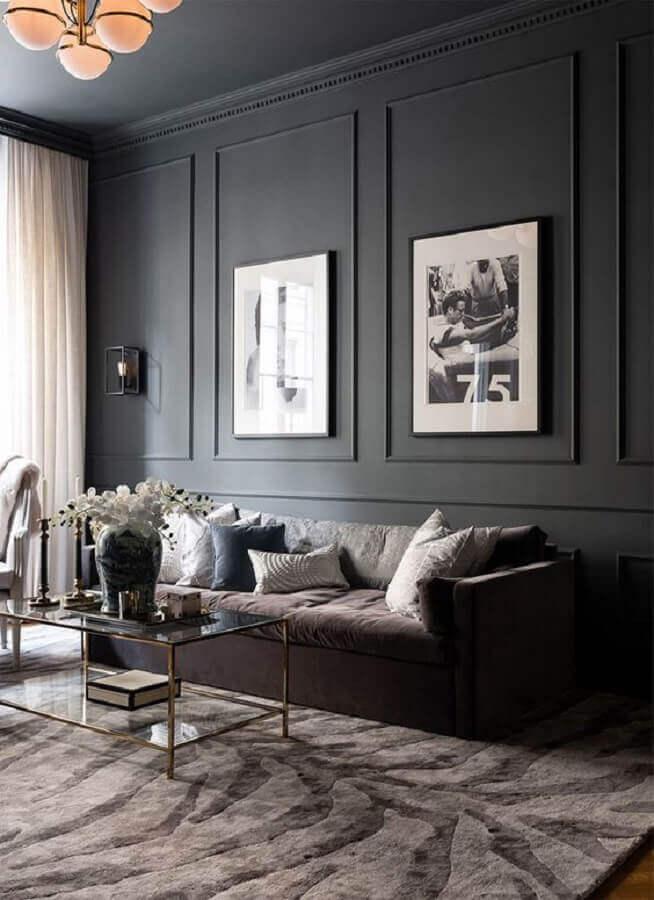 boiserie para decoração de sala com parede preta Foto Behance