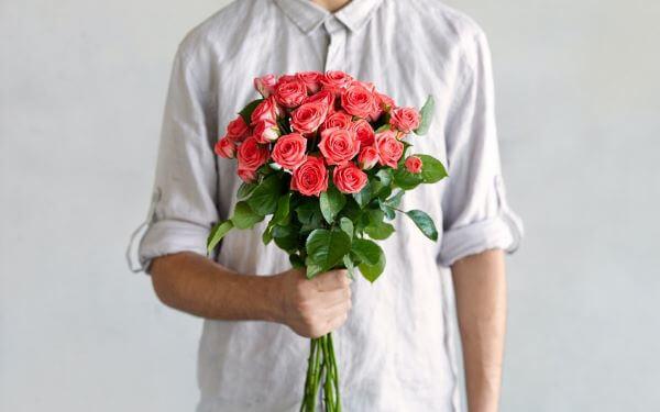 Buquê de rosas coral