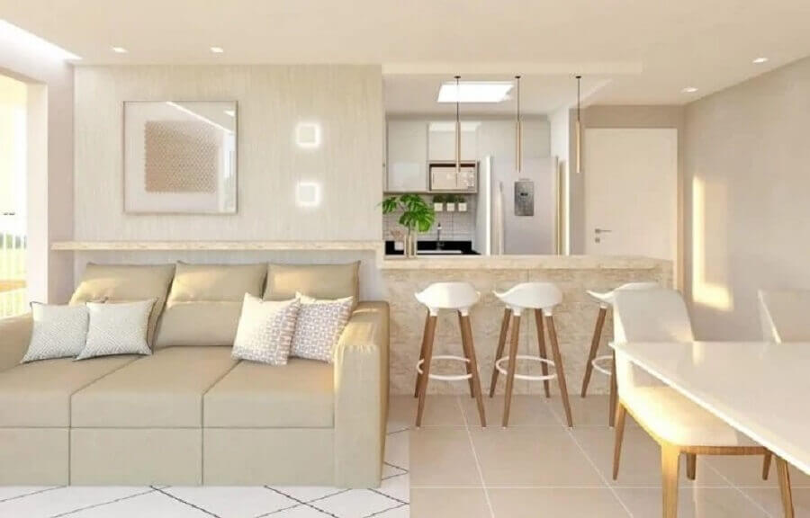 casa cor pérola decorada com ambientes integrados Foto AM Arquitetura e Interiores