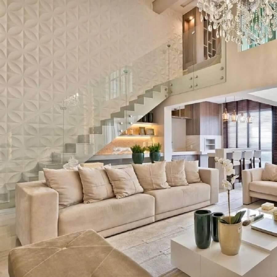 casa cor pérola sofisticada decorada com revestimento 3d Foto My Dream Home