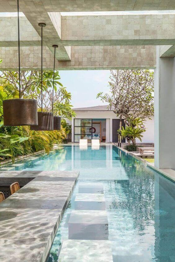 Casa moderna com área gourmet com piscina