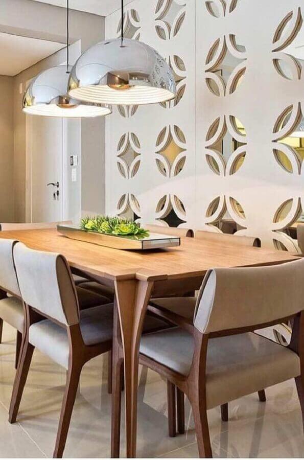 centro de mesa de jantar moderno com acabamento espelhado Foto Pinterest