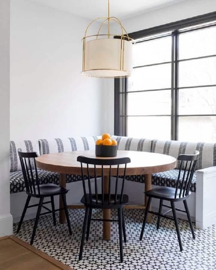 centro de mesa sala de jantar com canto alemão Foto Casa Très Chic