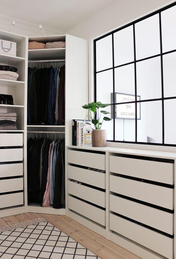 Closet em L com gaveteiros modernos