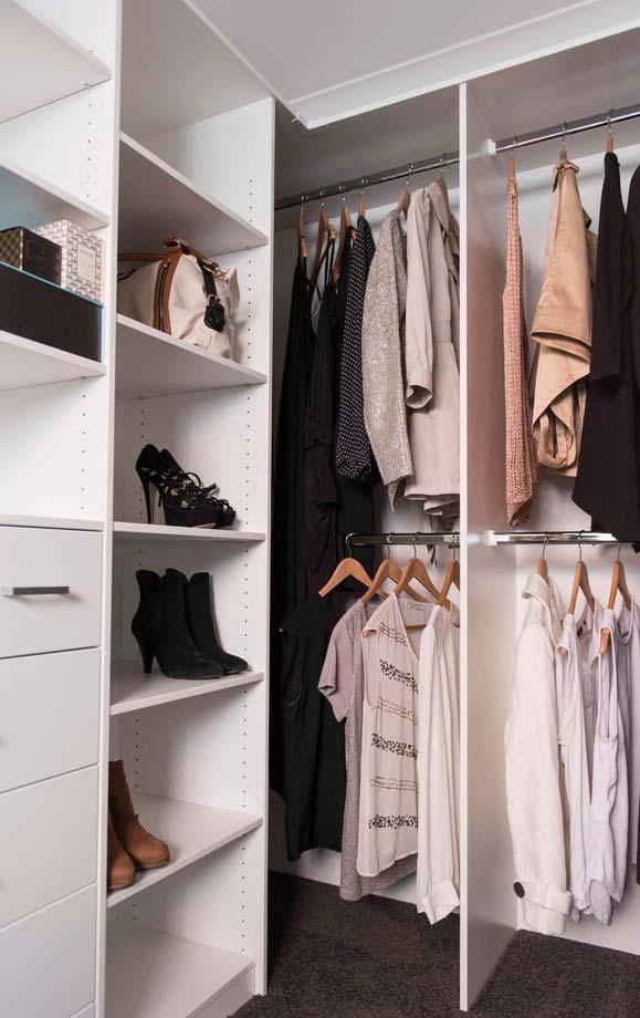 Closet em L com sapateira