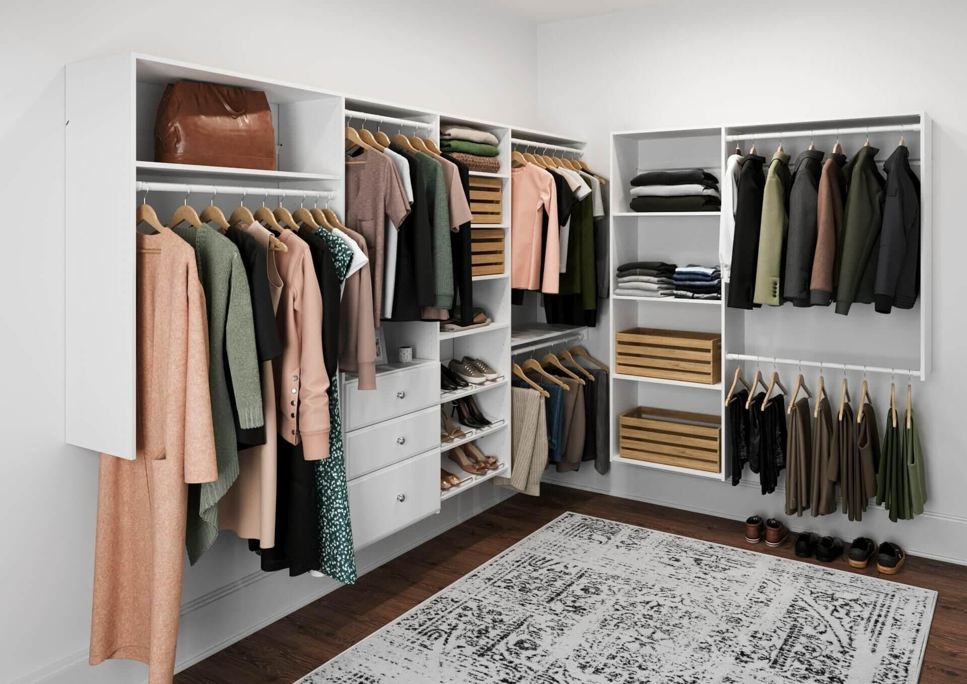 Closet em L modulado com tapete moderno