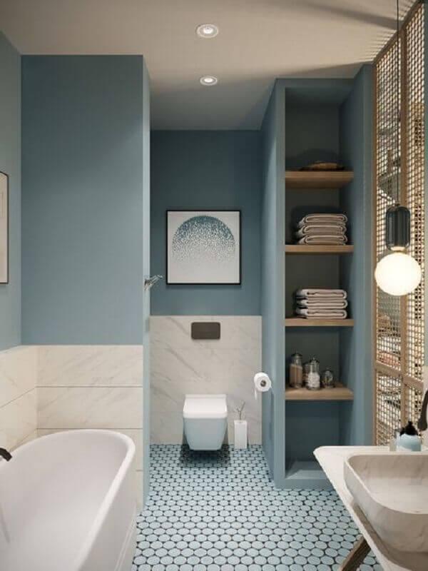 cor azul pastel para banheiro planejado com banheira Foto Pinterest