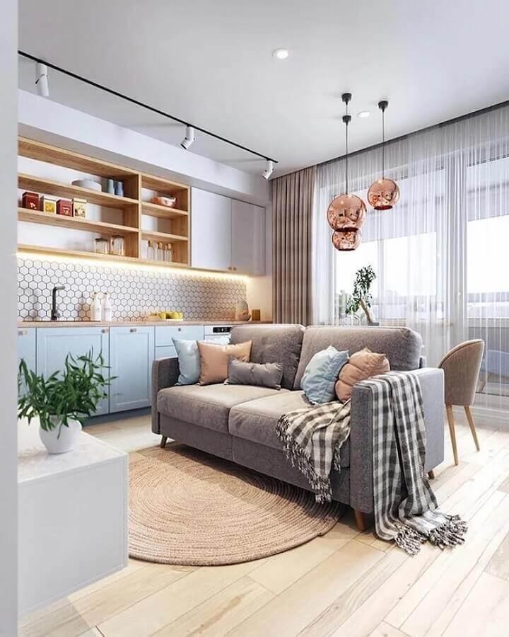 cor azul pastel para casa planejada com ambientes integrados Foto Jéssica Nardoto