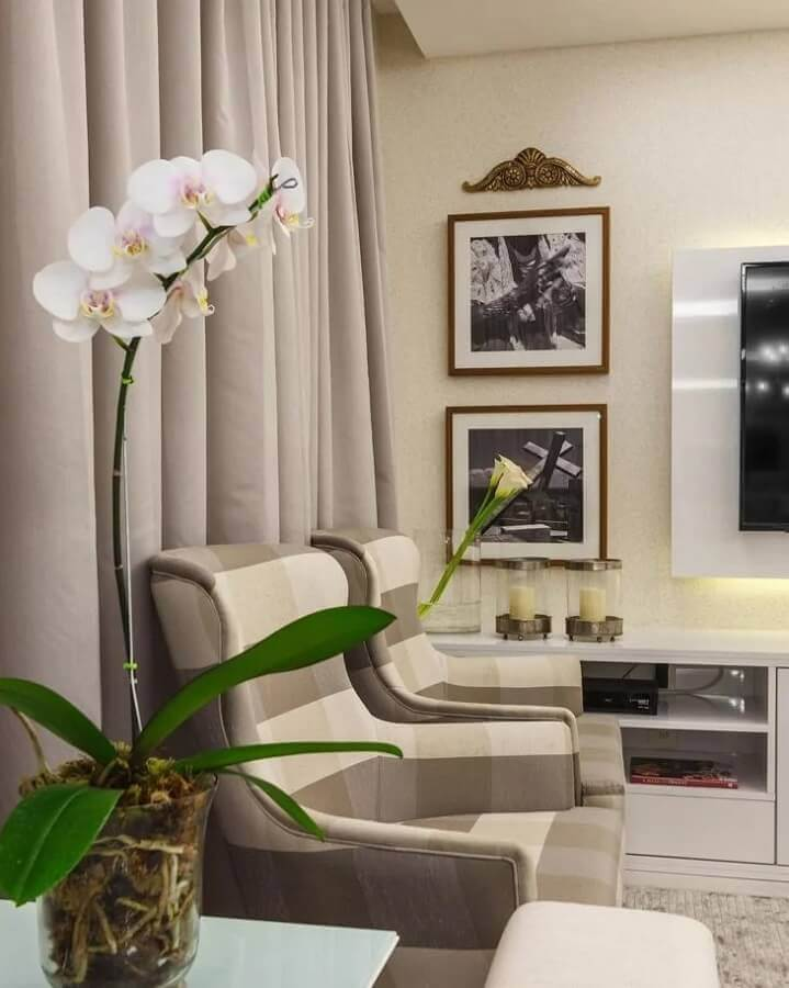 cor pérola para sala decorada com poltronas xadrez Foto Carla Ribeiro
