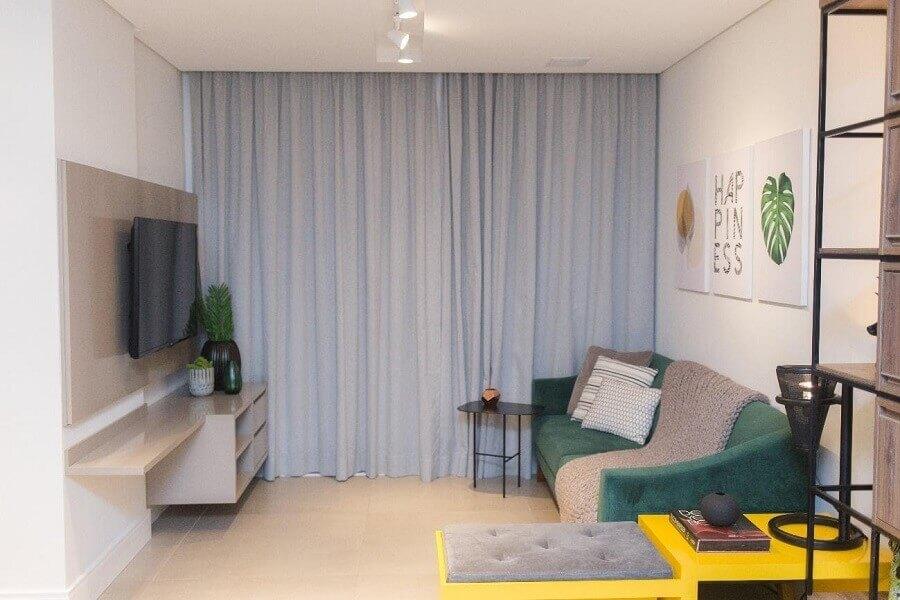cortina branca para decoração de sala pequena Foto Fernanda Patrão
