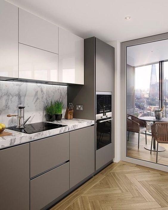 Que tal usar tons neutros na cozinha pequena?