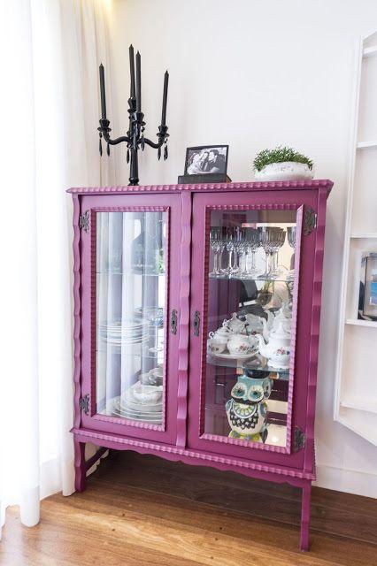Cristaleira de vidro antiga rosa