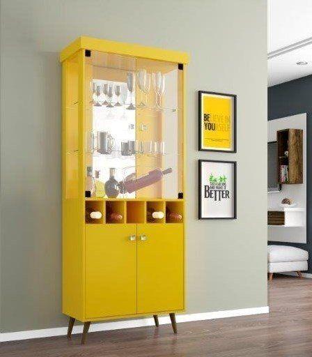 Cristaleira de vidro amarela, estilo retrô