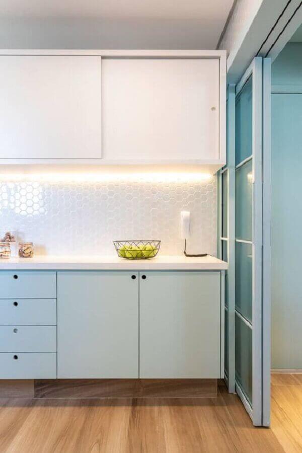 decoração azul pastel e branco para cozinha moderna Foto Casa Casada