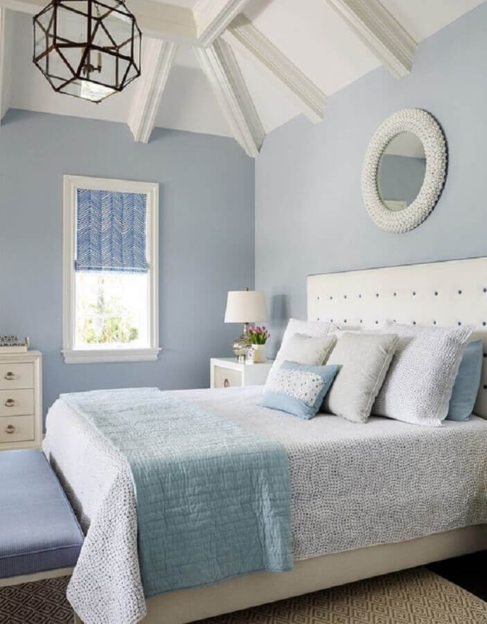 decoração azul pastel e branco para quarto de casal Foto Pinterest