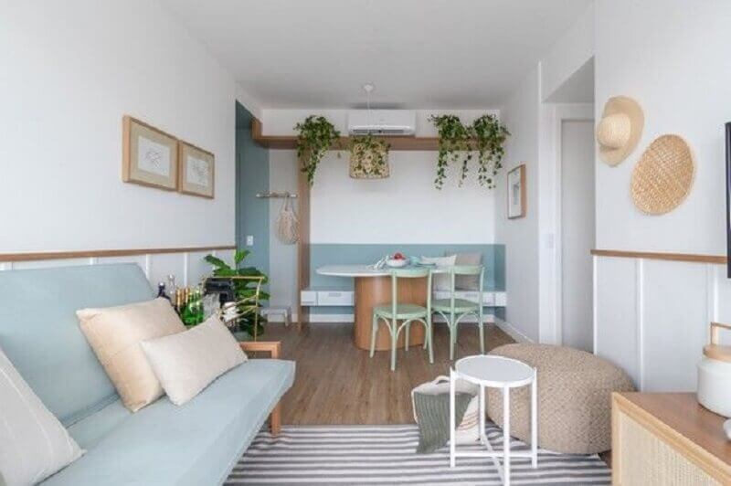 decoração azul pastel para sala de estar e jantar integradas Foto Pinterest