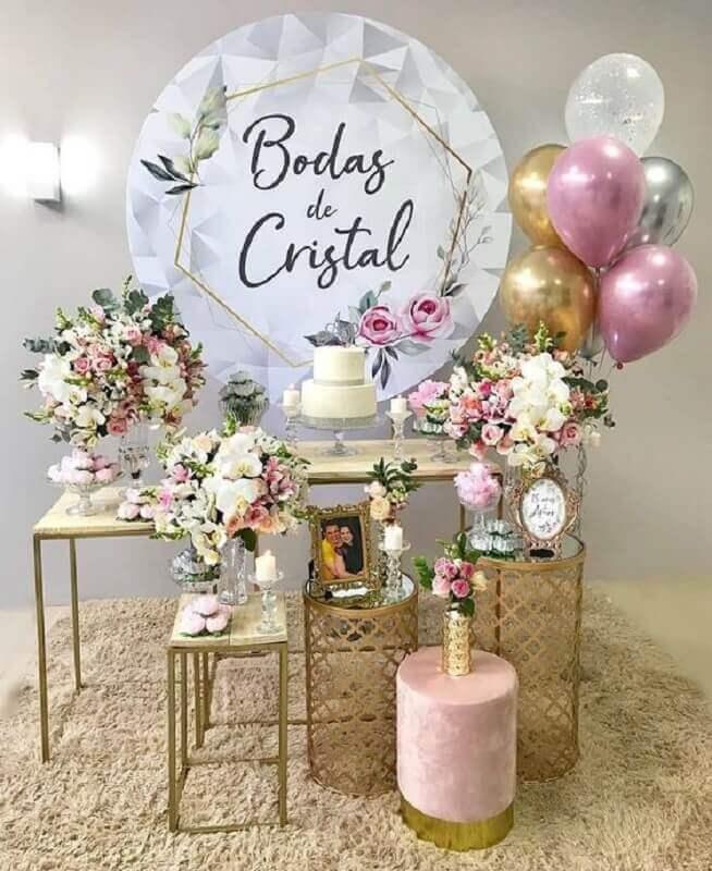 decoração bodas de cristal dourado Foto Pinterest