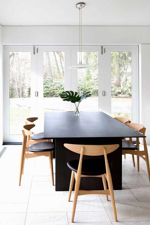 decoração clean com centro de mesa de jantar simples Foto Architecture Art Designs