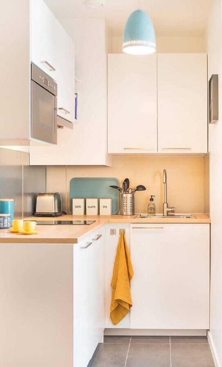 decoração clean para cozinha compacta com pia toda branca Foto Pinterest