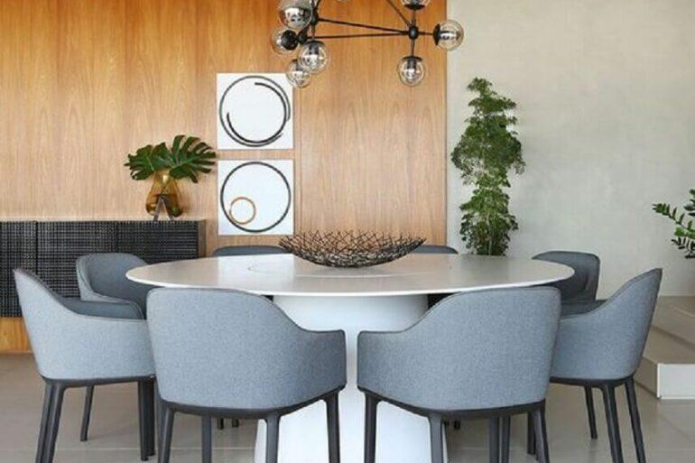 decoração com cadeiras de jantar modernas azuis estofadas Foto Futurist Architecture