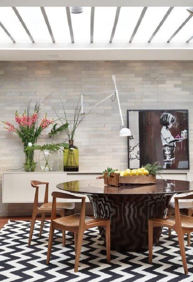 decoração com centro de mesa de jantar rústico Foto Pinterest
