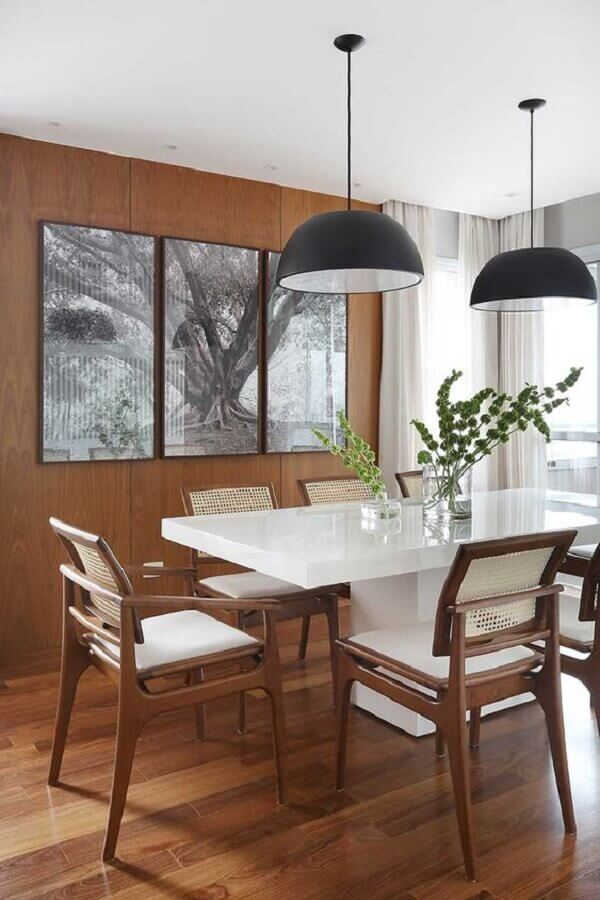 decorated with a pending black-and-chairs-dining-wood-Photo by House of Valentina