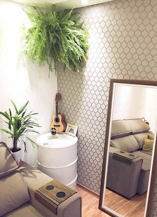 decoração com tambor branco para sala de estar Foto Pinterest