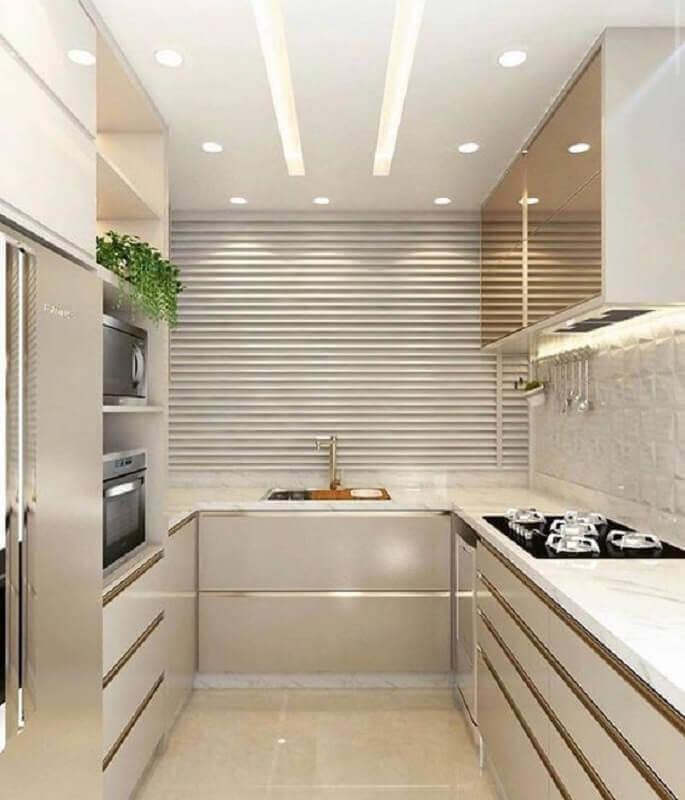 decoração cor pérola e branco para cozinha planejada Foto Archilovers