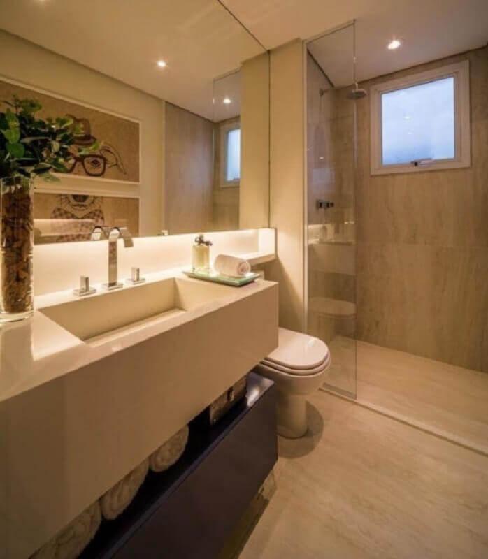 decoração cor pérola para banheiro planejado moderno Foto Behance