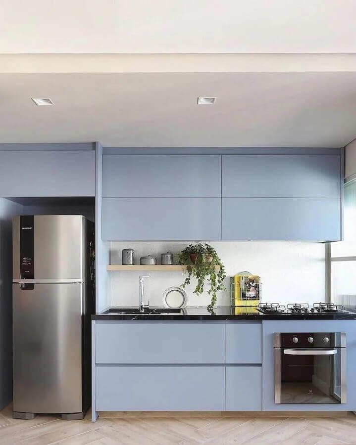 decoração de cozinha azul pastel planejada Foto Mariana Orsi