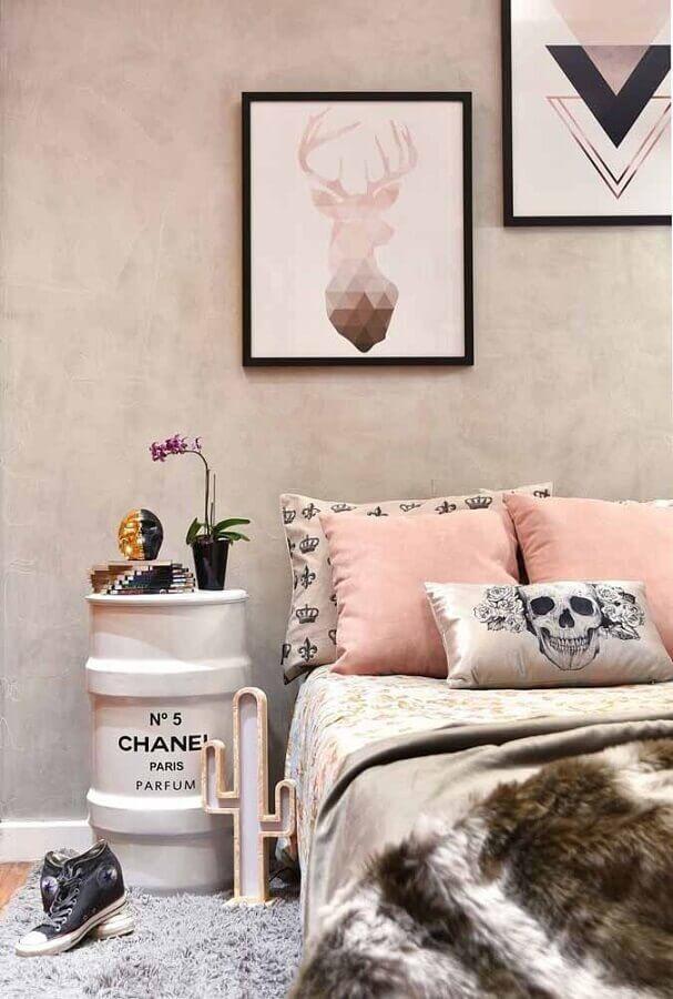 decoração de quarto jovem com tambor decorativo feminino branco Foto Pinterest