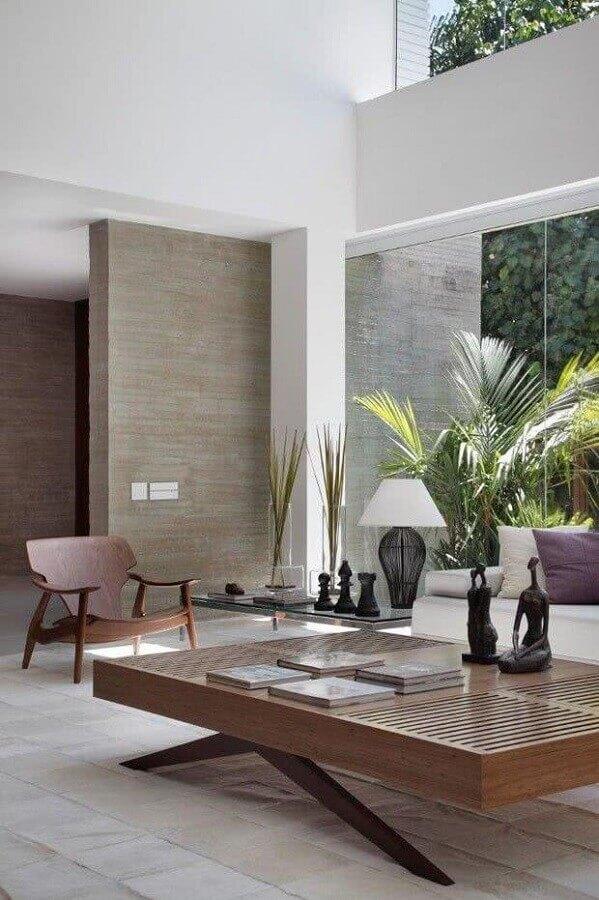 decoração de sala com mesa de centro de madeira moderna Foto Archi-Moze