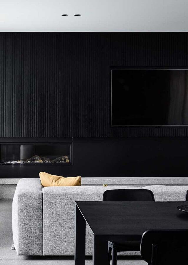 decoração de sala preta com sofá cinza Foto Pinterest